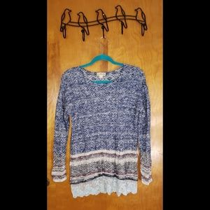 Live and Let Live Sweater with Lace Trim